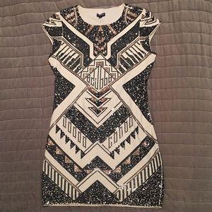 Express Short Sleeve Sequin Bodycon Dress